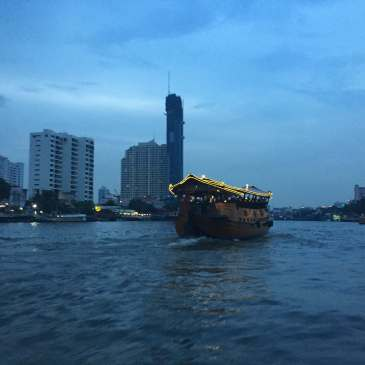 Chao Phraya River at night in Bangkok, Thailand