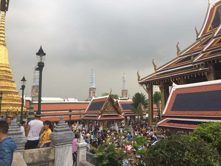 Crowds at the Grand Palace in Bangkok, Thailand