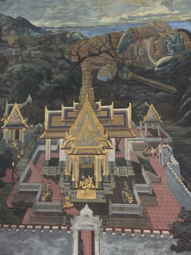 Mural in the Grand Palace in Bangkok, Thailand