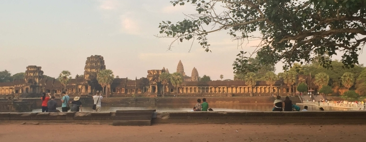 Angkor Wat and Moat with Tourists in Angkor, Cambodia