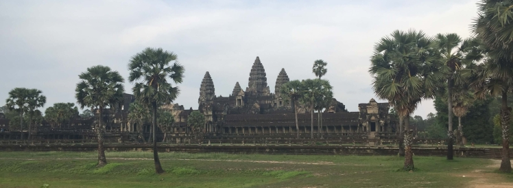 Angkor Wat and Palm Trees in Angkor, Cambodia