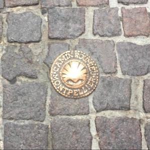 Marker on the Camino de Santiago in Montpellier, France