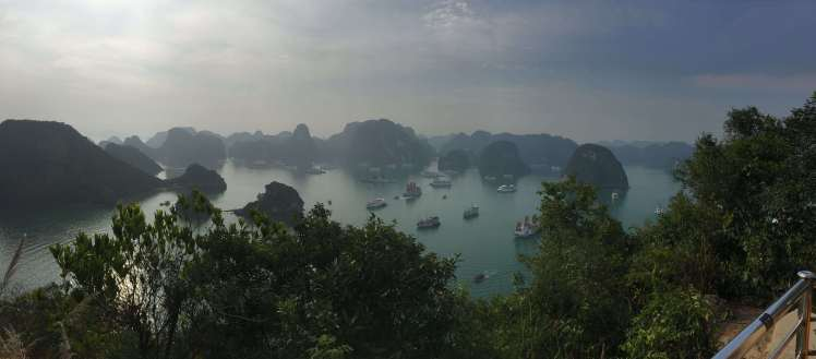 Panorama of Halong Bay in Vietnam
