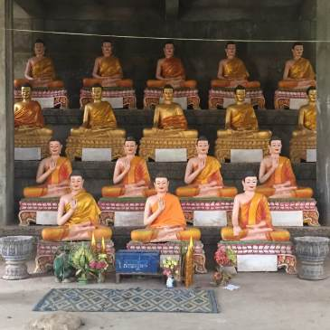 Rows of Buddhist Monks at a Temple near Battambang, Cambodia
