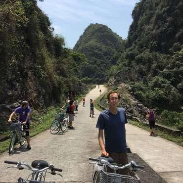 Aaron Cycling on Cat Ba Island, Vietnam