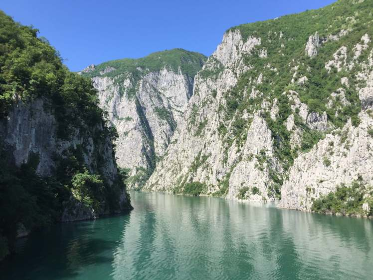 Cliffs over Lake Koman, Albania