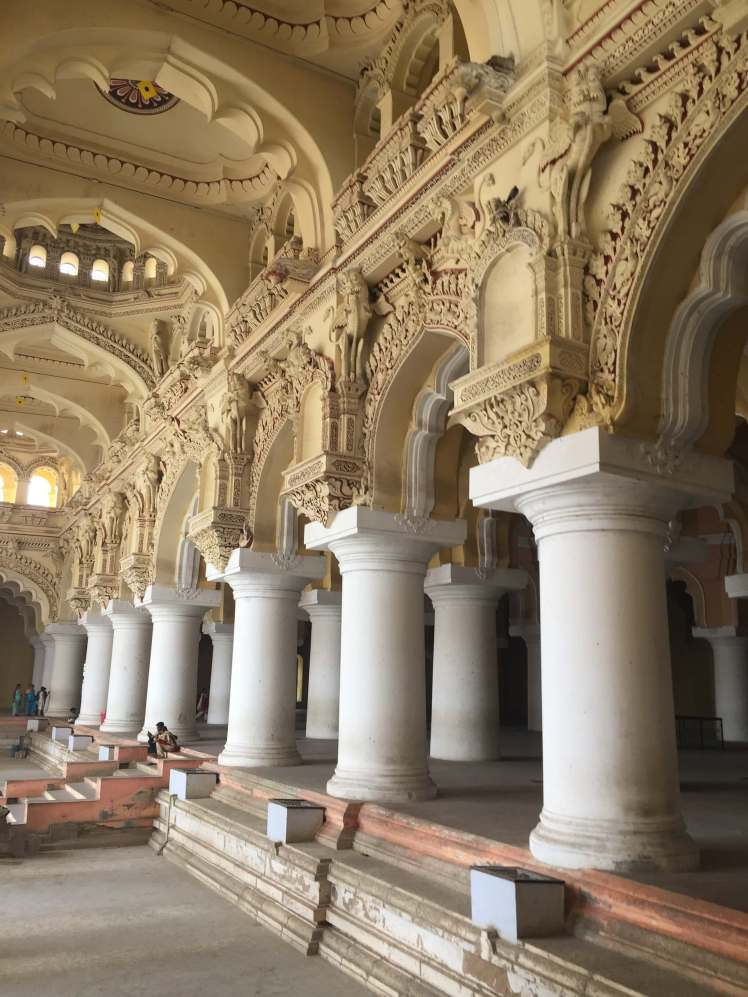 Columns in the Thirumalai Nayakkar Mahal Palace in Madurai, Tamil Nadu, India