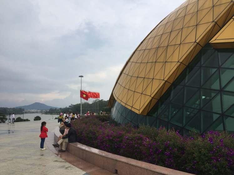 A bizarrely-shaped movie theater in Đà Lạt.