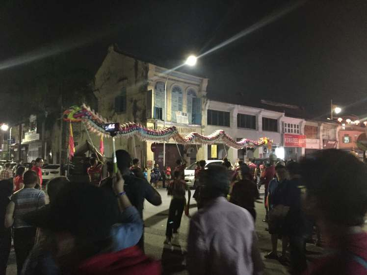 Chinese New Year Dragon Dance in George Town, Malaysia