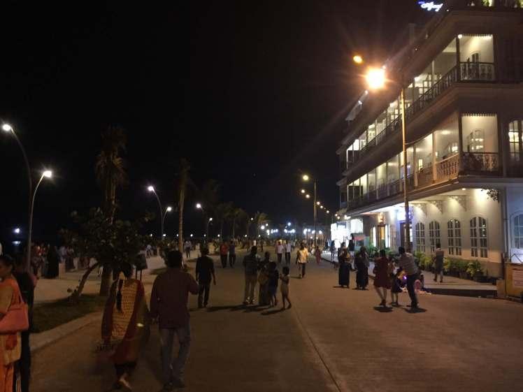 Evening Esplanade in Pondicherry, India