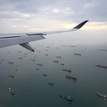 Flying in to Singapore