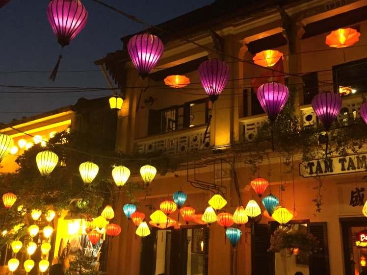 Lanterns lighting Hội An in the evening.