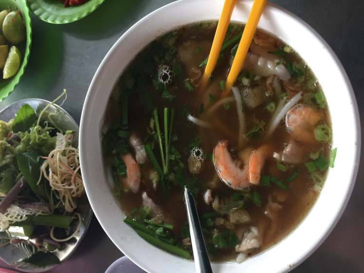 It's difficult to see the hủ tiếu in this bowl of hủ tiếu hải sản, but they're there!