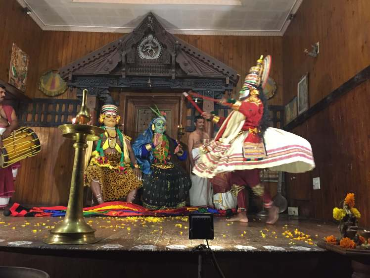 Kathakali Scene Featuring Arjuna Rejoicing at the Kerala Kathakali Centre in Kochi, Kerala, India