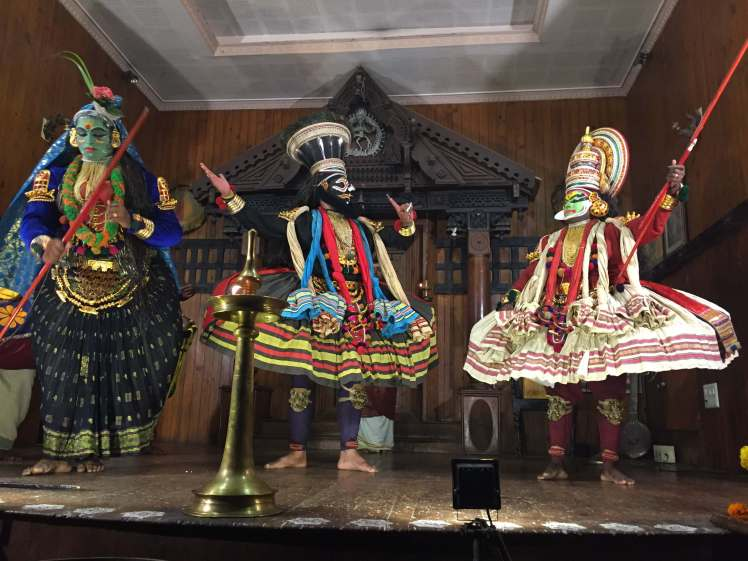 Kathakali Scene Featuring Arjuna, Shiva, and Parvati at the Kerala Kathakali Centre in Kochi, Kerala, India