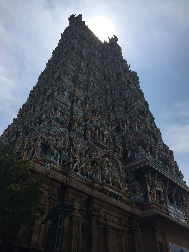 A Gopuram of the Meenakshi Amman Temple in Madurai, Tamil Nadu, India