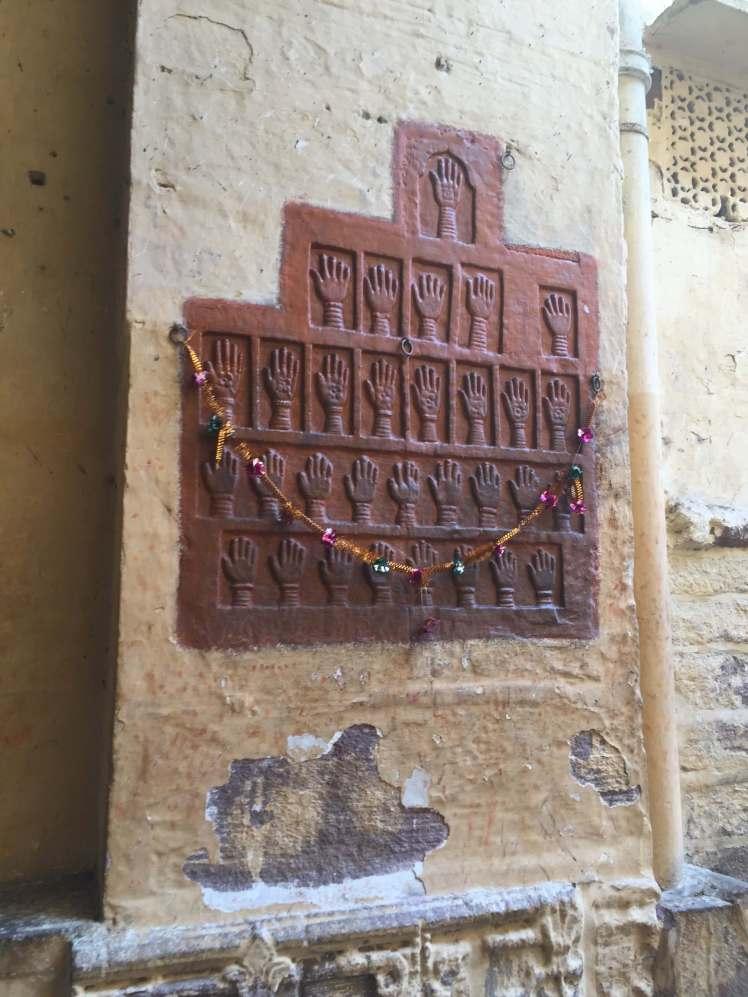 Women's Handprints in Mehrangarh Fort in Jodhpur, Rajasthan, India