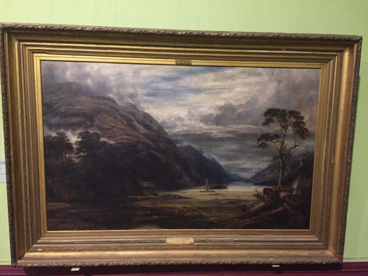 Painting of Glenfinnan, Scotland at a Museum in Mumbai, Maharashtra, India