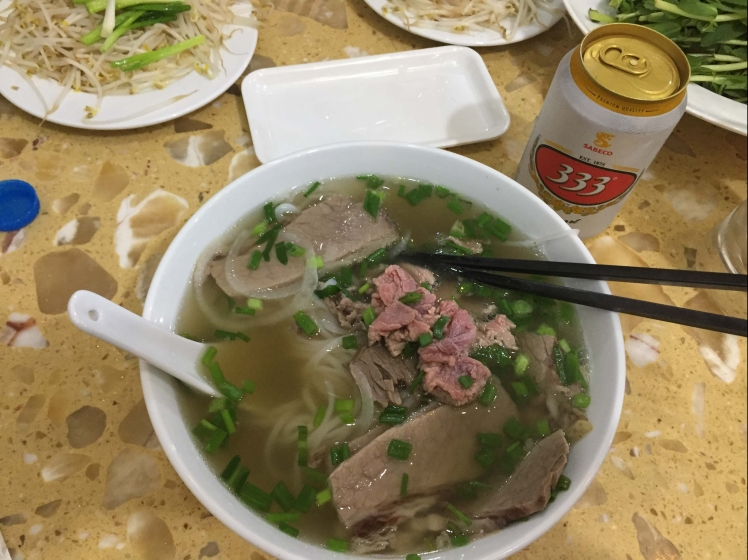 A nice warm bowl of phở bò.