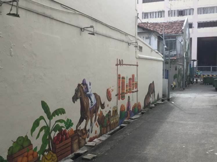 Race Horse Mural in Little India in Singapore