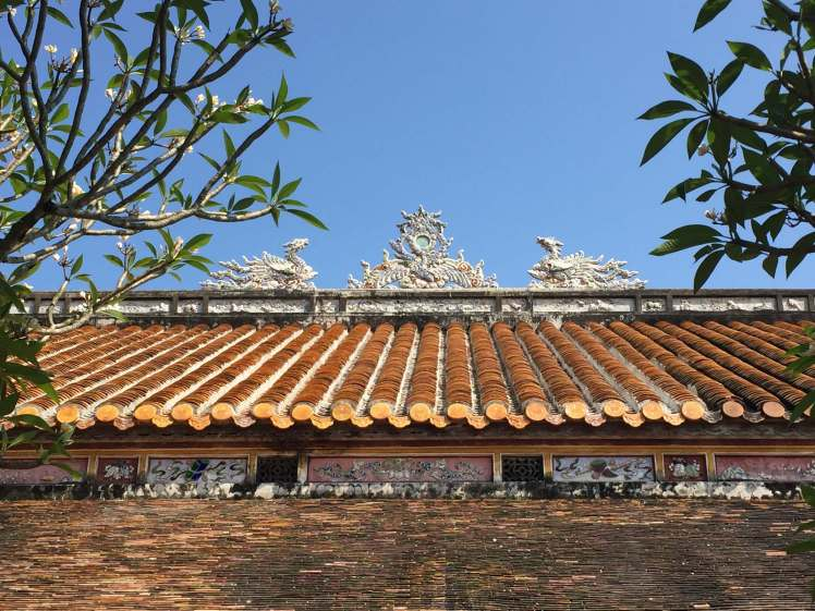 A typical Vietnamese temple roofline, in the Citadel of Huế.