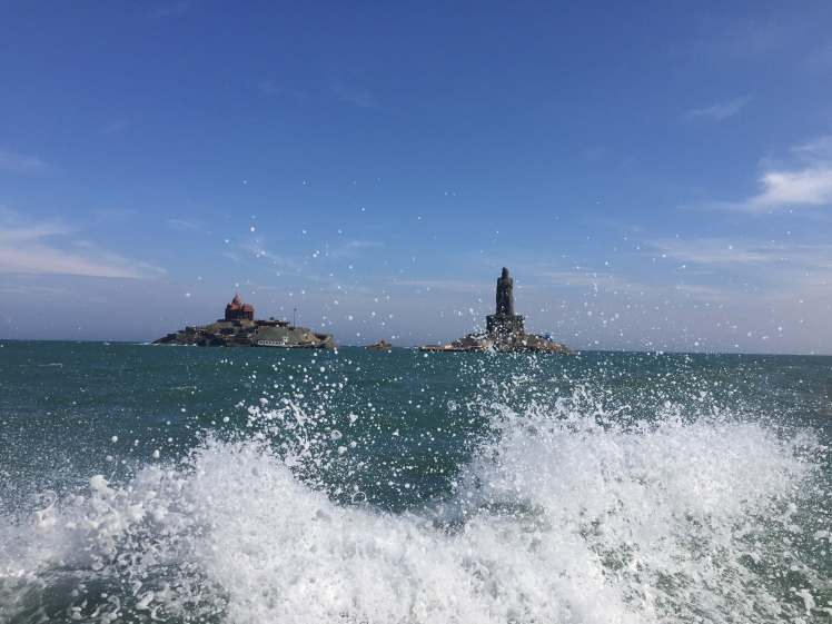 The Vivekananda Mandapam and Thiruvalluvar Statue in Kanyakumari, Tamil Nadu, India