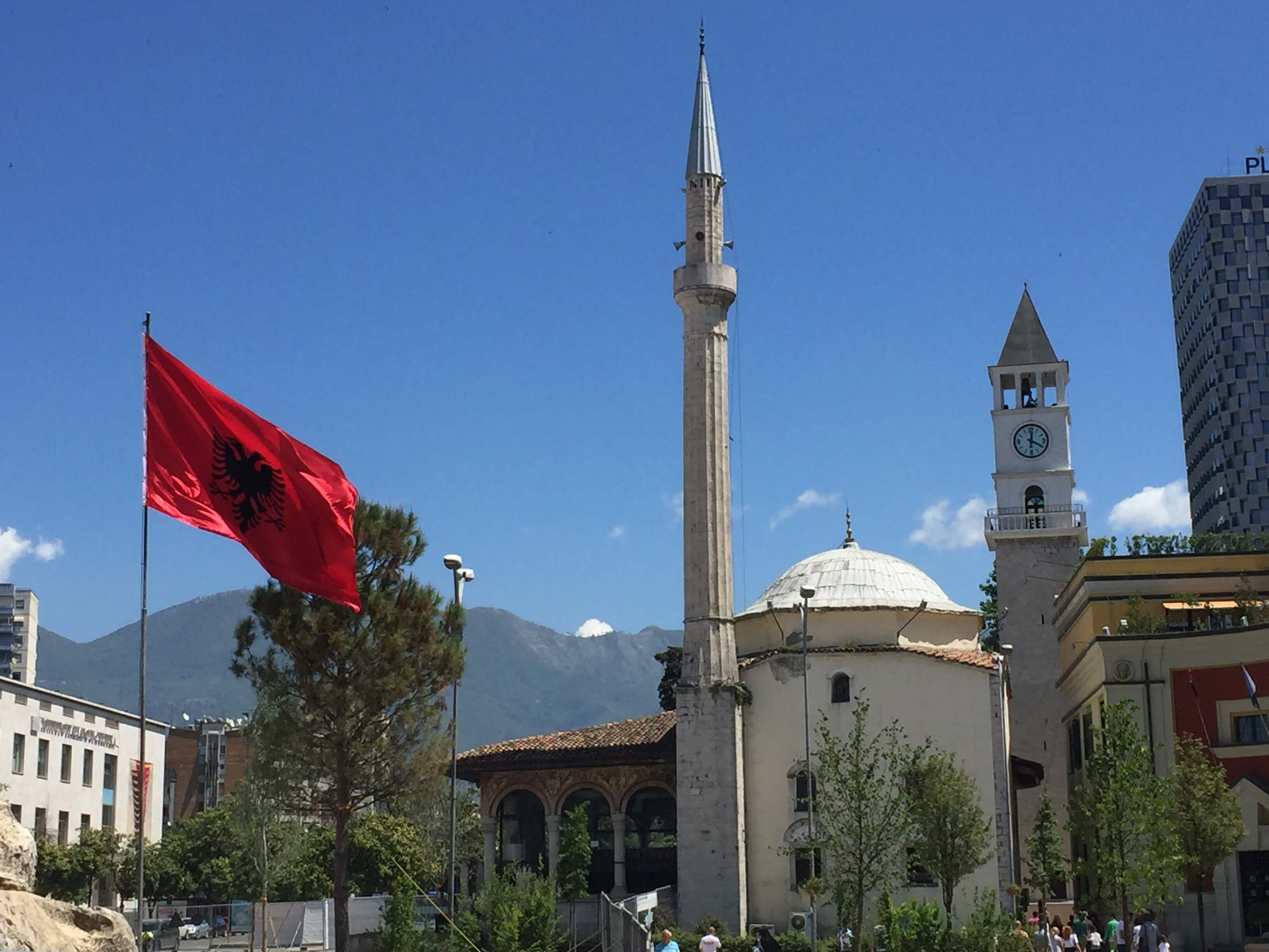 Albanian Flag and Mosque in Tirana, Albania