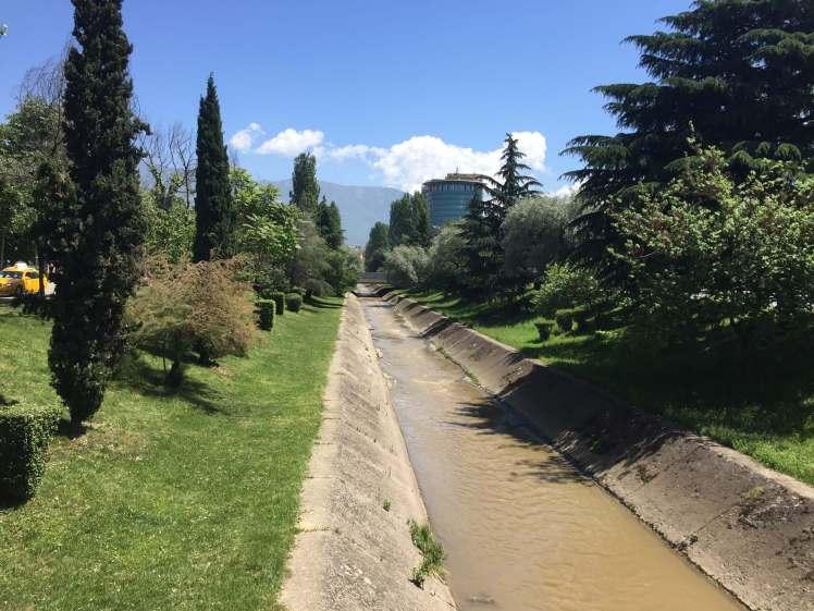 The Lanë River, Tirana, Albania