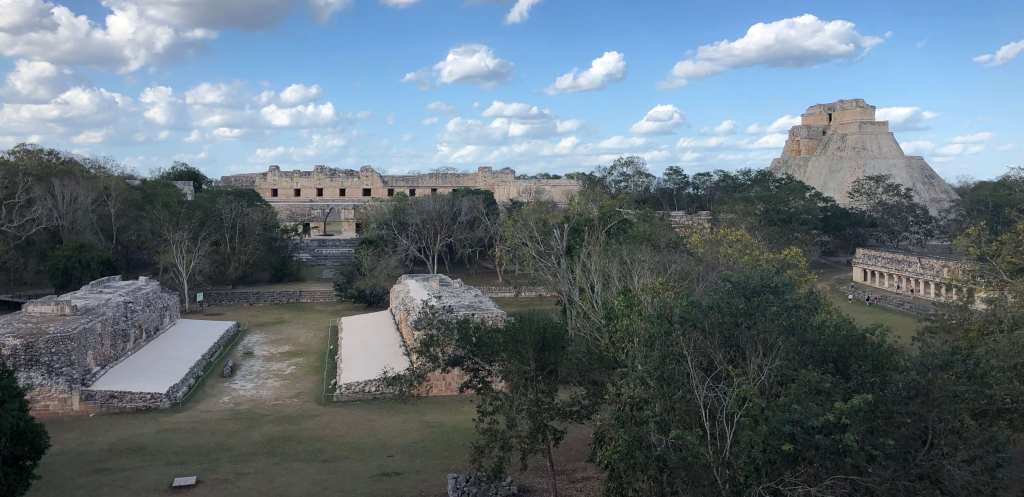 Pyramid and Ball Court at Uxmal, México