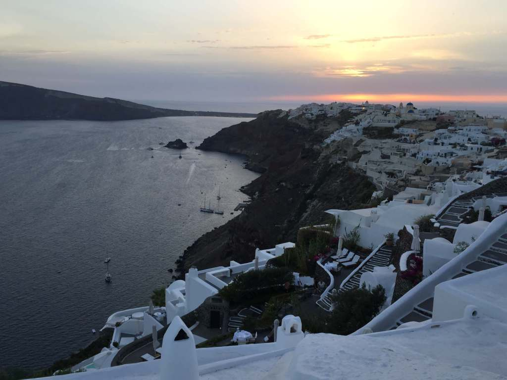 Sunset over Oia, Santorini, Greece