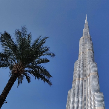 Burj Khalifa and Palm Tree, Dubai, United Arab Emirates
