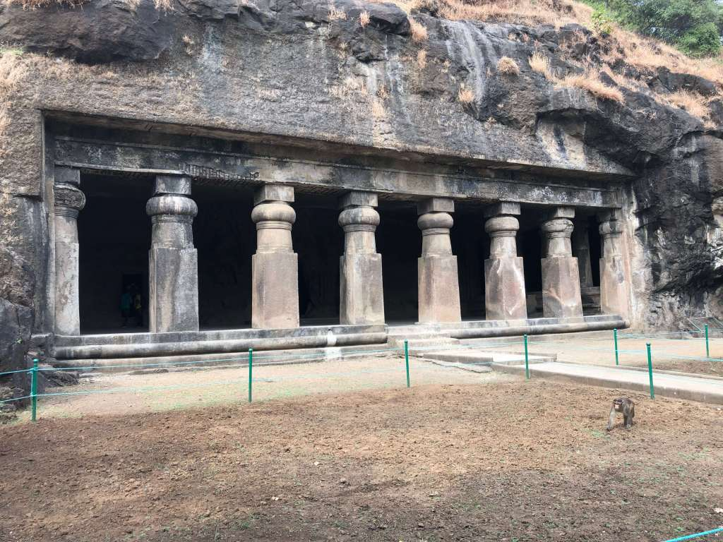 Cave Temple Entrance, Elephanta Island, Maharashtra, India