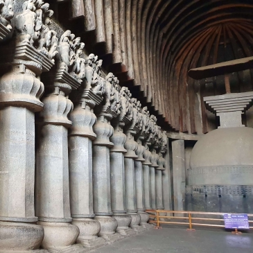 Interior of Karla Cave Prayer Hall, Lonavala, Maharashtra, India