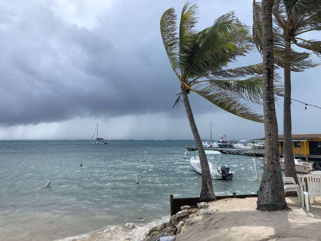 Beach with Incoming Storm, Caye Caulker, Belize