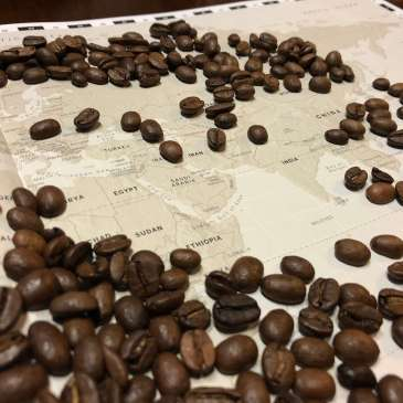 Coffee Beans on Map