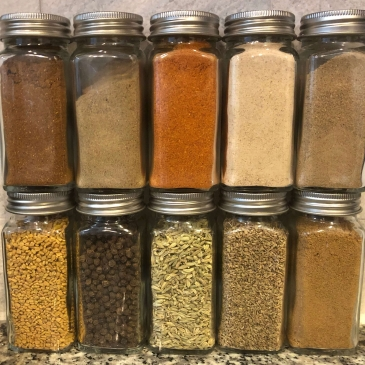 Spice Jars with Indian Spices