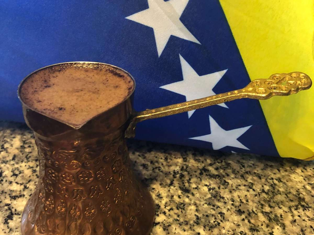 Bosnian Coffee in Džezva with Flag